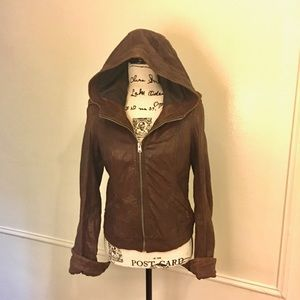 Hollister. S-M Lamb skin brown leather jacket.
